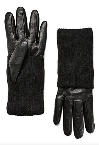 A|X Armani Exchange Women's Leather with Knit Gloves, Black, Medium/Large
