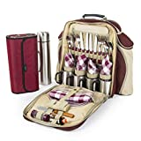 Greenfield Collection Super Deluxe Mulberry Red Picnic Backpack Hamper for Four People with Matching Picnic Blanket