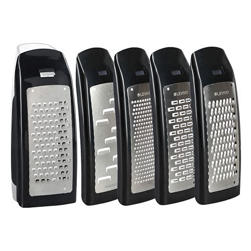 Levivo 331800000210 Set Grattugia per Formaggio, Acciaio Inossidabile, Nero, 7.5 x 5.5 x 16.5 cm