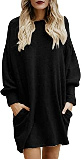 Women Solid Dresses O-Neck Pocket Long Sweater Long Sleeve Casual Loose Pullover