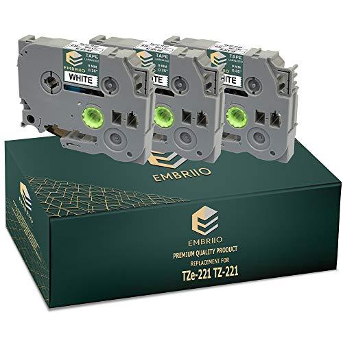 EMBRIIO TZe-221 TZ-221 | 3x Casetes de Cinta Reemplazo para Brother P-Touch PT-H110 PT-E550WVP PT-E100 PT-P700 PT-H105 PT-H101C PT-1000 PT-D600VP PT-H100 PT-H100LB | Negro sobre Blanco | 9 mm x 8 m