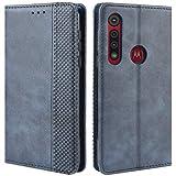 HualuBro Handyhülle für Motorola One Macro/Moto G8 Play Hülle, Retro Leder Brieftasche Tasche Schutzhülle Handytasche LederHülle Flip Hülle Cover für Motorola Moto One Macro - Blau