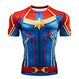 YUNYIYIS Men's Super-Hero Compression Sports Fitness Elastic T-Shirt Quick-Drying Running Captain -Short-Red-M