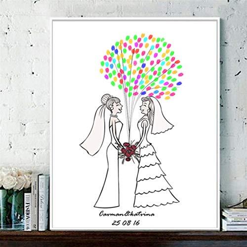 Danjiao Lesbenhochzeits-Verlobung Kundenspezifischer Fingerabdruck Leinwandbilder Gästebuch Diy Souvenir Anniversary Gift Decor Cartoon Figure Wohnzimmer 40x60cm