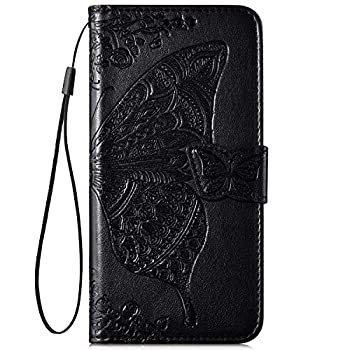 IKASEFU Compatible with iphone 6 Plus/6S Plus Case Emboss butterfly Floral Pu Leather Wallet Strap Card Slots Shockproof Magnetic Stand Feature Folio Flip Book Cover Protective Case-Black