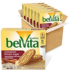 Six boxes with 5 packs each (4 biscuits per pack), 30 total packs, of belVita Cinnamon Brown Sugar Breakfast Biscuits Baked biscuits lightly sweetened with cinnamon and brown sugar Specially baked to release up to 4 hours of nutritious steady energy ...