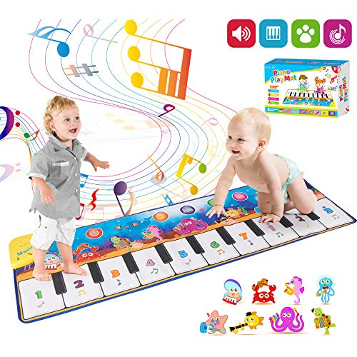 Retruth Kids Musical Mat Toys, Piano Mat Keyboard Dancing Mat with 8 Instrument Modes, Touch Play Mat Early Education Music Toys Gift for 1-8 Years Old Girls Boys(43.3x14.2inch)