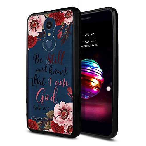 FINCIBO Case Compatible with LG K10/ K10+ Plus K30 2018 5.3 inch, Slim Shock Absorbing TPU Bumper + Clear Hard Protective Case Cover for LG K10 2018 (NOT FIT K10 2016) - Christian Bible Psalm 46:10