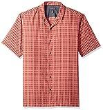Van Heusen Men's Air Seersucker Short Sleeve Button Down Stripe Shirt, Red Braniedapr, Large