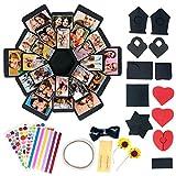 Confezione regalo di carta fai-da-te | 1 scatola nera, 4 fogli di adesivi, 12 pezzi di carta pieghevoli | Scatola foto per San Valentino, scatole regalo a sorpresa