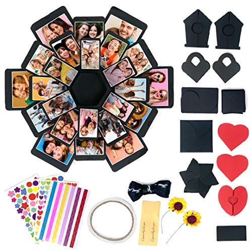 Confezione regalo di carta fai-da-te | 1 scatola nera, 4 fogli di adesivi, 12 pezzi di carta...