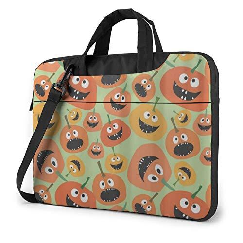 Halloween Party Yellow and Orange Pumpkin Laptop Bag Case Sleeve Briefcase Computer Organizer for Women Men 15.6'
