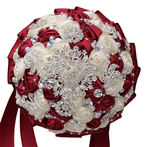 Acyoung, spilla fatta a mano, bouquet da sposa, in raso, con rose e strass e perle, bouquet di fiori artificiali (rosso)