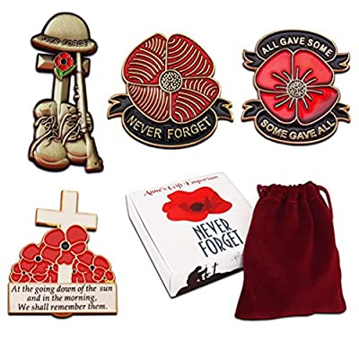New Boxed Set of 4 Large Red Poppy Badges Lest We Forget Pin Remembrance Day First World War Lone Soldier Veterans Enamel Brooch Metal Remember Them Badge in Presentation Box All Gave Some