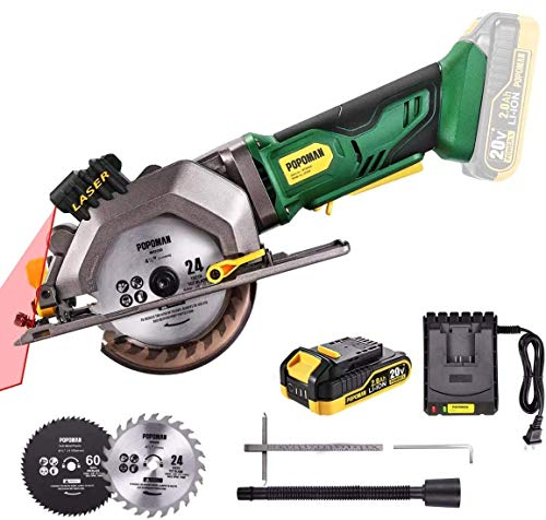 Cordless Circular Saw, POPOMAN 20V 4-1/2' Mini Circular Saw with 2.0Ah Battery, 1H Fast Charger, 9.5'' Base Plate, Laser Guide, Cutting Depth 1-11/16'' (90°), 1-3/8'' (0°-45°), Wood & Metal Cuts