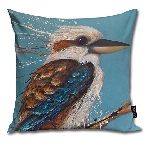 BlueBling Fashion Funny Throw Pillow Covers Bird Series - Kookaburra Printed 18 x 18 Inches Cases Cushion Cover Pillowcases for Home,Indoor,Bed,Gard