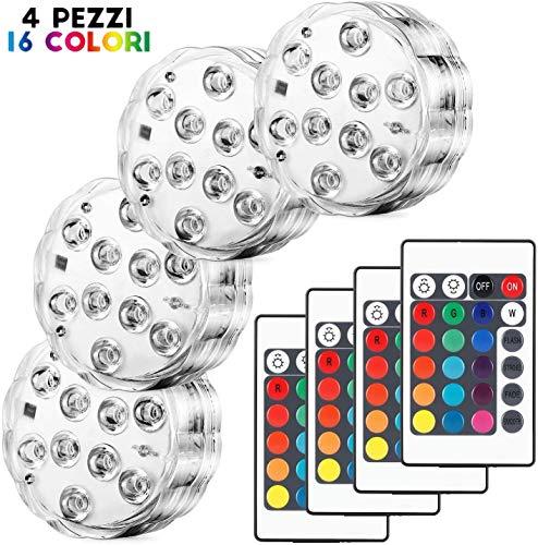 Kohree 4 x Luces Sumergibles LED Bajo El Agua Luz con mando