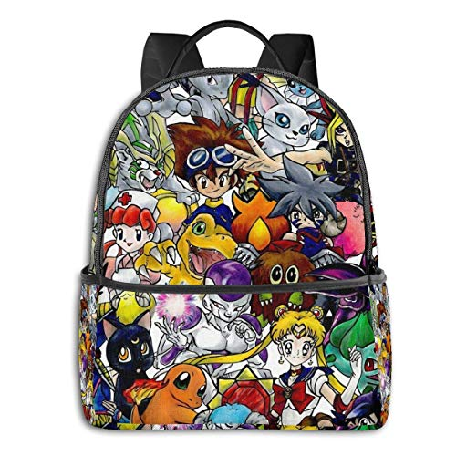 IUBBKI Mochila lateral negra Mochilas informales Anime Time! Student School Bag School Cycling Leisure Travel Camping Outdoor Backpack