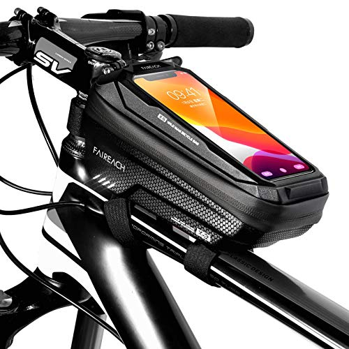 Faireach Bike Frame Bag with Mobile Phone Holder, Bicycle Top Tube Pouch, Waterproof Cell Phone Case Cycle Mount with Touch Screen Window, for iPhone Samsung Smart Phone up to 6.5''