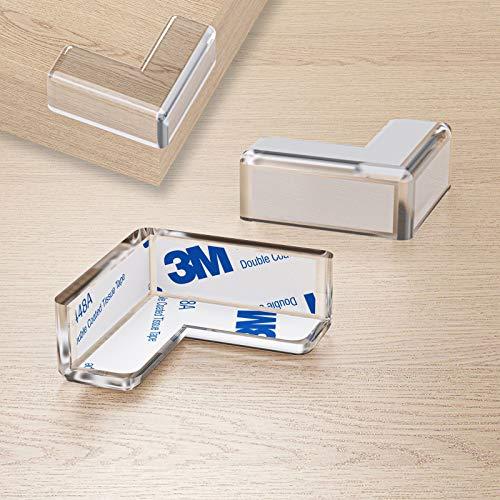 WELLGRO Kantenschutz eckig - Silikon Eckenschutz, 4 x 4 x 1,9 cm (LxBxH), transparent, BPA frei - Menge wählbar, Stückzahl:16 Stück