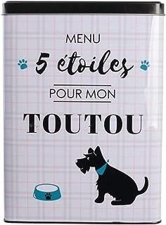 DITES LE AVEC DES MOTS MO0670 Boite à Croquettes Métal Chien Coloris Aléatoire, Gris, Blanc, 18x10x25 cm