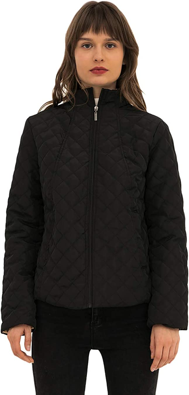 EFOFEI Womens Quilted Fleece Long Sleeve Winter Thicken Warm Jacket Parka Jacket