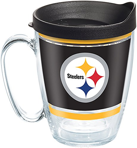 Tervis NFL Pittsburgh Steelers Legend Tumbler with Wrap and Black Lid 16oz Mug, Clear
