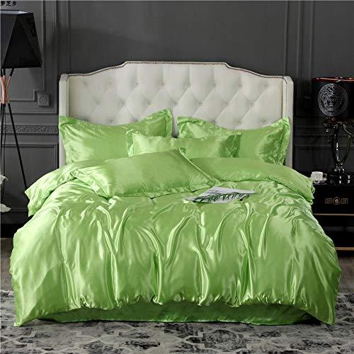 juego de ropa de cama 160x200,Verano hielo seda de cuatro piezas software de cama de cuatro piezas lavado de agua seda colcha cubierta de seda cama de seda una almohada conjunto de regalos-Ee_Cama de