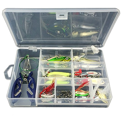 Gossip Boy 42pcs/Set Fish Kits Mixed Universal Assorted Fish Bait Fishing Tackle Box – with Spinner Lures VIB Treble Hooks, Single Hooks, Swivels, Pliers, Staff, etc. for Freshwater Saltwater Fishing