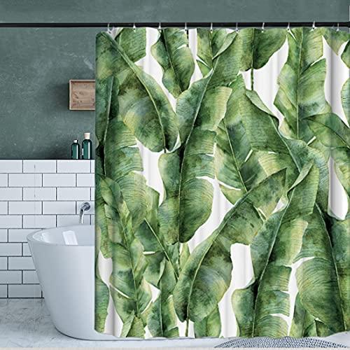 Duschvorhang 180x200cm Grünes Laub Anti-Schimmel Von Wasserdichter Duschvorhang gardinen mit ösen.(12 Ringe frei)