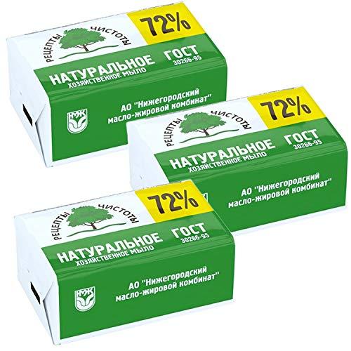 3er Set (3x200g=600g) Kernseife 72% Haushaltsseife Gost Хозяйственное мыло Гост 72%