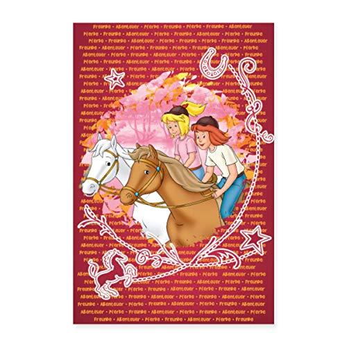 Spreadshirt Bibi und Tina Wettreiten auf Amadeus und Sabrina Poster 20x30 cm, Weiß