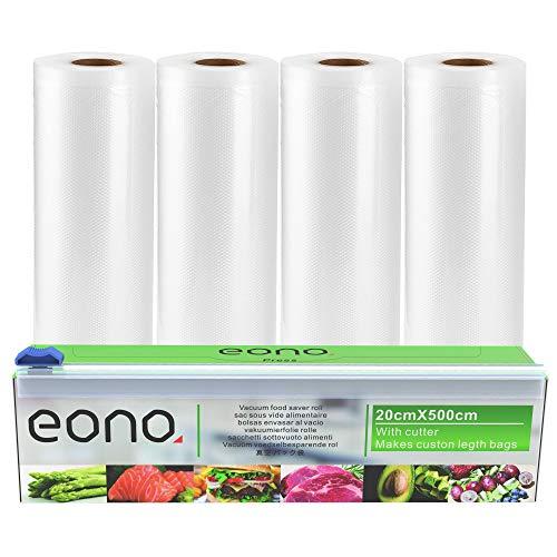 Amazon Brand - Eono Vakuumrollen Vakuumierfolie Folienbeutel-Vakuumbeutel - für Sous Vide oder Lebensmittel Lagerung, BPA frei - 20cm x 5m, 4-Packungen, 1-Cutter Box