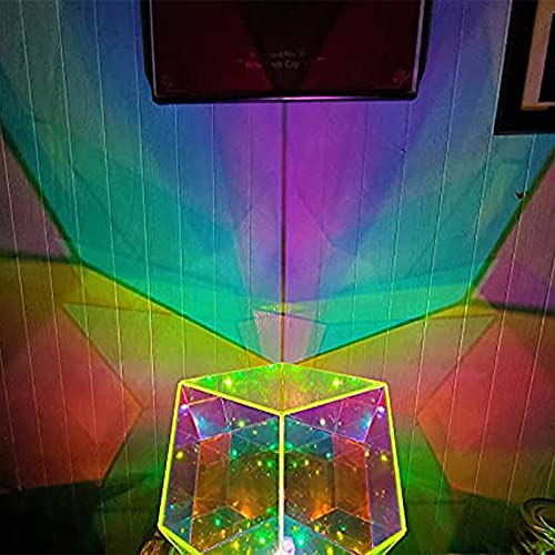 Infinite Dodecahedron Color Art Light Night Light, 3D Spiral Space Dodecahedron Color Art Light Night lamp, Creative Cool Rhombic Dodecahedron Infinity Prism with Led Light (Prism)