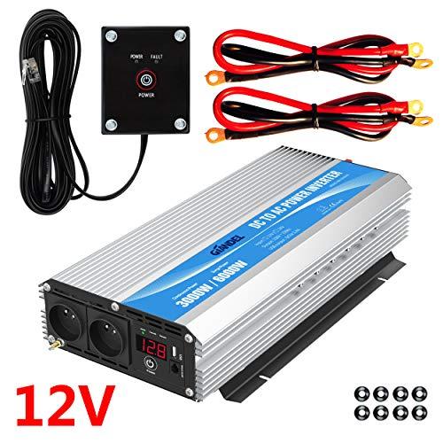 GIANDEL Onduleur 3000W Convertisseur 12V 220V 230V avec télécommande et Deux Prises Secteur&Affichage à LED pour Voiture de Camion de Camping-Car