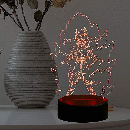 Dragon Ball Z - Lámpara de noche con luz LED de dibujos animados 3D, diseño de mono...