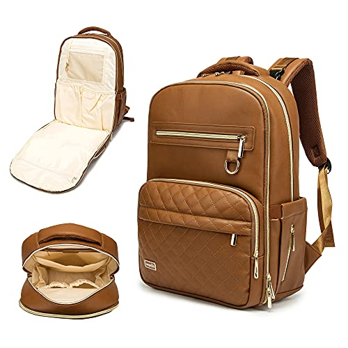 Diaper Bag Backpack, Rabjen 2 Layer Vegan Leather Baby Bag, Large Capacity Multifunction Maternity Travel Back Pack for Men and Women