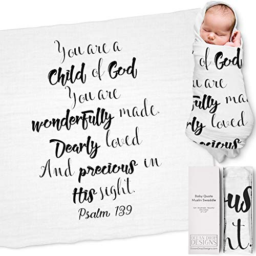 "Ocean Drop 100% Cotton Muslin Swaddle Baby Blanket – 'Child of God' Quote with Gift Box for Baptism, Christening, Godson, Goddaughter, Boy or Girl, Baby Shower – Super Soft, Breathable, Large ""47x47"""
