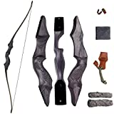 """SinoArt 60"""" Takedown Longbow Archery Wooden Archery Bow Included Fur Rest Pad Stringer Tool Tab String Nocks Right and Left Hand for Hunting or Target"""