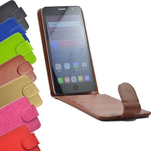 Flip 2 in 1 set Tasche für Hisense Sero 5 Slide Kleber Hülle Case Cover Schutz Bumper Etui Handyhülle in Braun