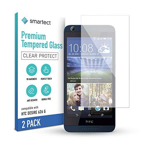 smartect Schutzglas kompatibel mit HTC Desire 626g [2 Stück] - Tempered Glass mit 9H Festigkeit - Blasenfreie Schutzfolie - Anti-Kratzer Bildschirmschutzfolie