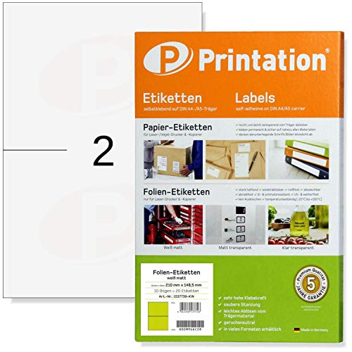 Etiketten 210 x 148,5 mm WETTERFEST weiß matt auf DIN A4 Bogen - 2 A5 Etiketten / A4 Seite - 20 Folienetiketten 210x148,5 selbstklebend mit Laser Drucker bedruckbar