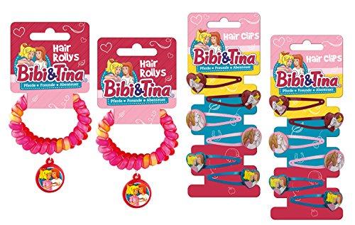 Craze Toys Hair Accessoires Bibi und Tina 4 Rollys und 12 Haarspangen Kinderschmuck Armband Haarband Set 14578, unisex-child, bunt