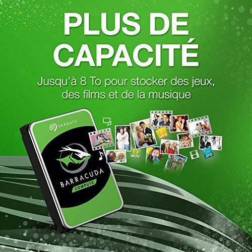 Seagate BarraCuda 1 To, Disque dur interne HDD – 3,5 pouces SATA 6 Gbit/s 7 200 tr/min, 64 Mo de...