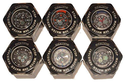 Coleccion EXACTIME - Combo de 6 Relojes Deportivos Resistentes al Agua Unisex - Análogo/Digital