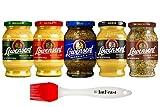 Löwensenf German Mustard Variety Pack (5 Pack) -Extra Hot Mustard, Medium Hot Mustard, Sweet and Spicy Mustard, Honey Mustard, Wholegrain Mustard, with Silicon Basting Brush by Intfeast