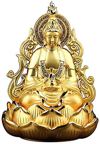 Meditating Buda Estatua Ornamento Metal Sculpture 2-Sided Bodhisattva Avalokitesvara Home Office Study Desktop Gold 10x10x14cm MUMUJIN