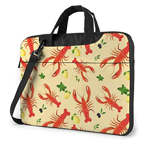 15.6 inch Laptop Tasche Schultertasche Bussiness Messenger Tablet Tasche Laptophülle Red Lobster Lemon Seamless
