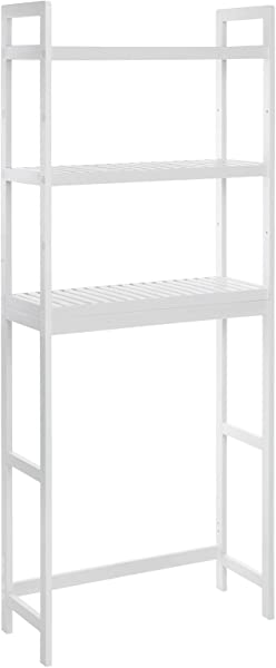 SONGMICS Over The Toilet Storage 3 Tier Bamboo Bathroom Organizer With Adjustable Shelves Multifunctional Toilet Rack Static Load Capacity 33 Lb Per Tier Easy To Assembly White UBTS01WT