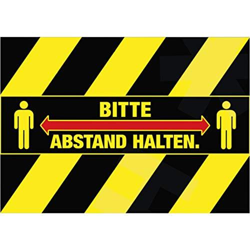 HERMA 12918 Bodenmarkierung Bitte Abstand Halten (29,7 x 7 cm, 5 Blatt, Polyesterfolie) selbstklebend, wetterfest, rückstandsfrei ablösbare Bodenaufkleber, schwarz gelb